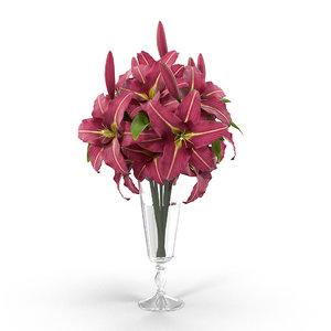 3d model lily bouquet