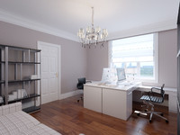 3d contemporary home office interior