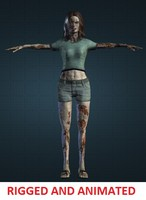 zombie woman rigged 3d model