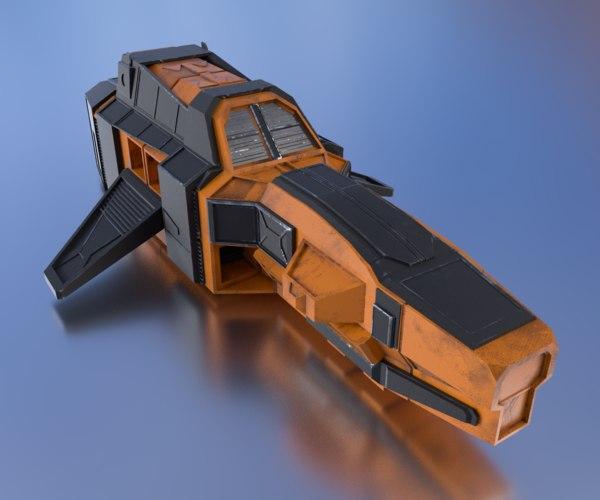 3d spaceship pbr details