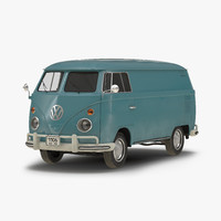 Volkswagen Type 2 Panel Van Blue 3D Model