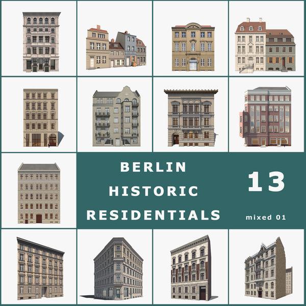 3d model 13 historic berlin houses