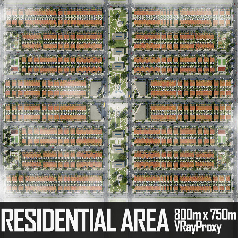 3d residential urban area