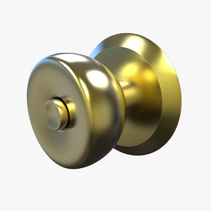 3d door knob brass model