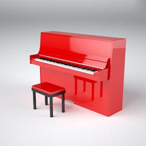 3dsmax retro upright piano red