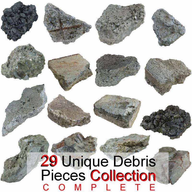 complete debris pieces realistic 3ds