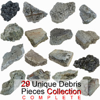 Realistic Stone Debris Piece Complete Collection highway road tarmac