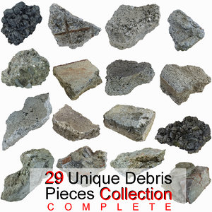complete debris pieces realistic 3ds