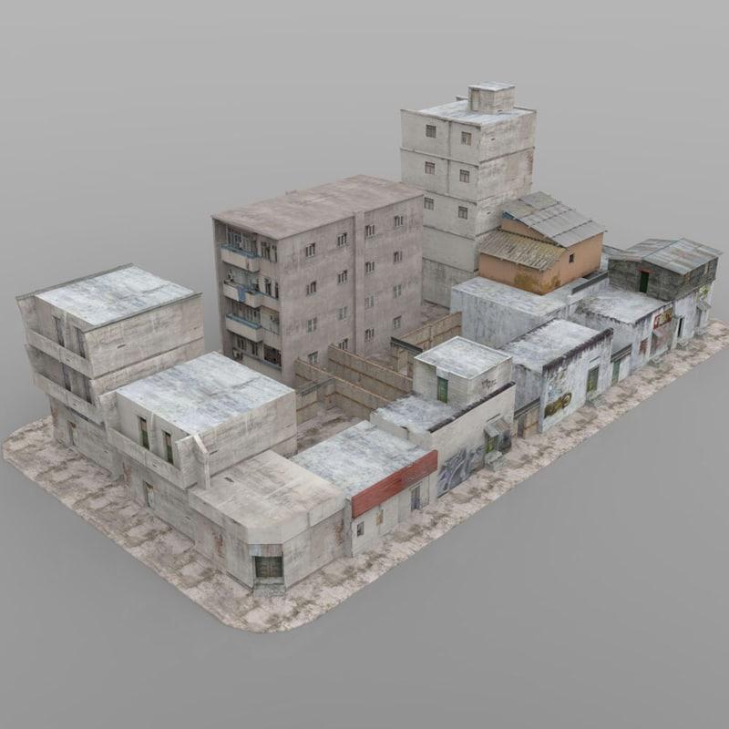 3ds buildings town city block