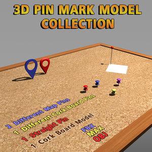 3d model modeled pin cork board