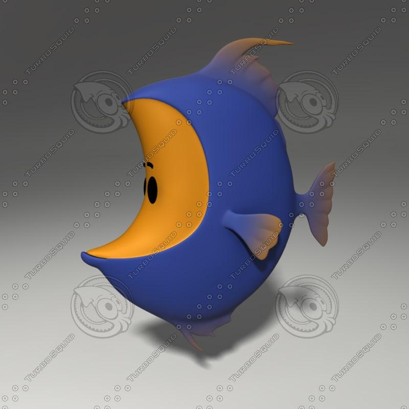 3d model of cartoon fish