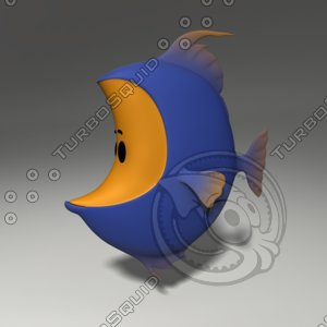 3d model of cartoon fish