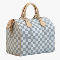 Louis Vuitton Speedy 25 Bag Checker Blue