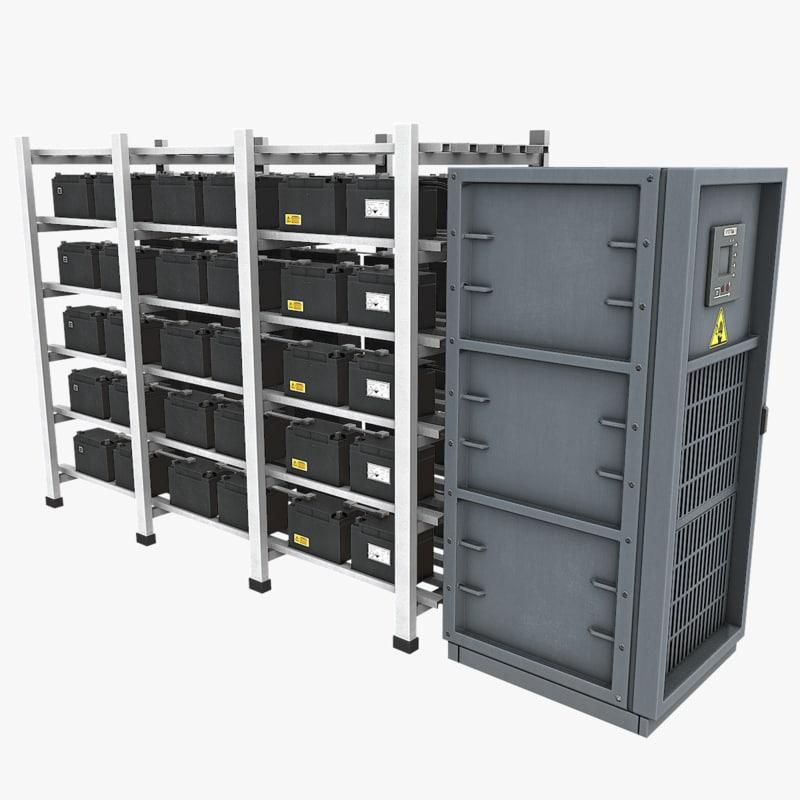backup batteries 3d model