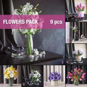 flowers pack 3d model