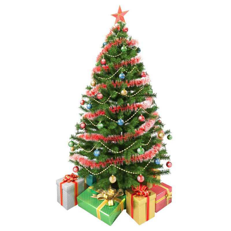 Model Of Christmas Tree: Realistic Christmas Tree Gifts 3d Obj