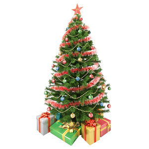 realistic christmas tree gifts 3d obj