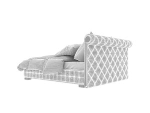 grey leather bed 3d max