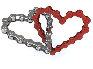 3d model bicycle chain heart