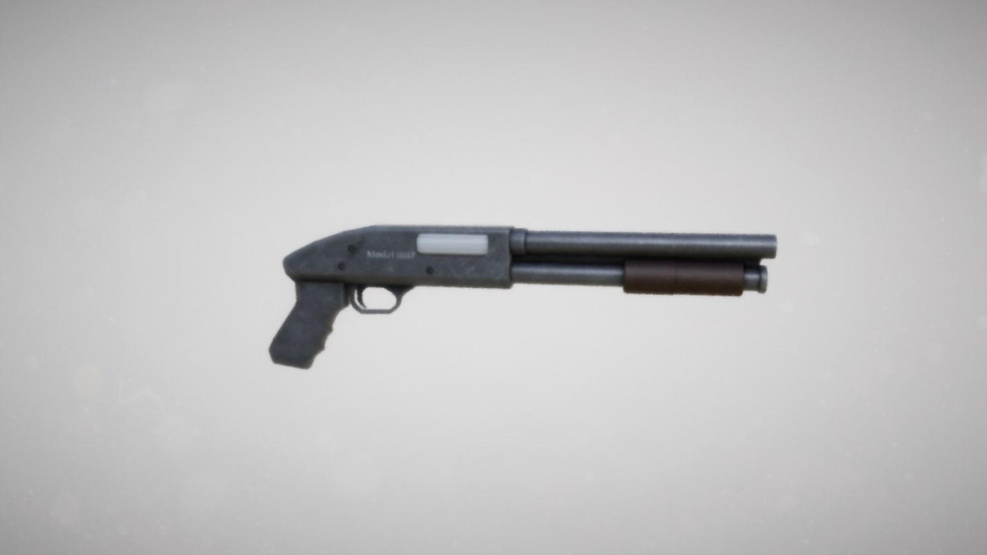 sawed shotgun 3d model