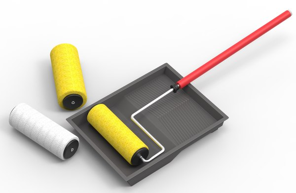 roller paint tray kit 3d model