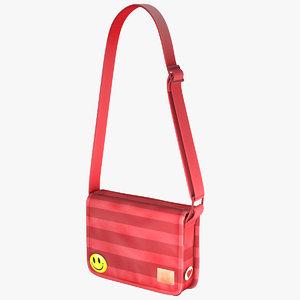 3d model student messenger bag 4