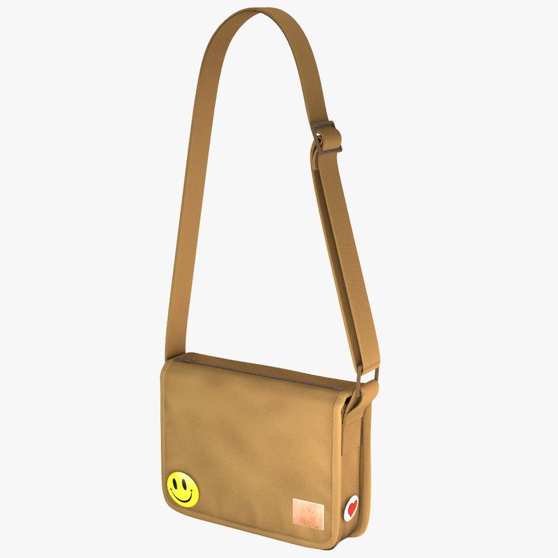 3d model student messenger bag 1
