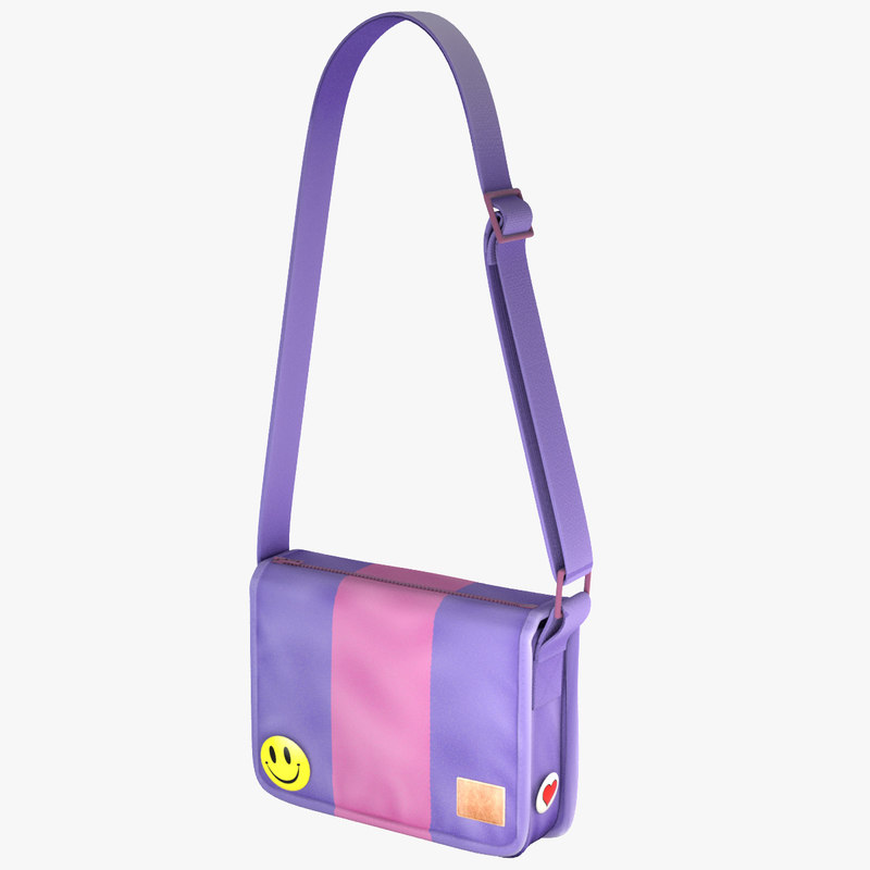 3d model student messenger bag 7