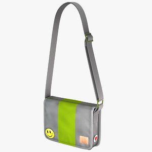 3d model student messenger bag