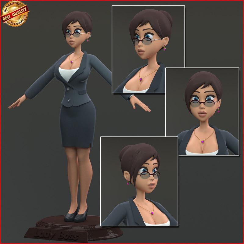 3d cartoon business woman model