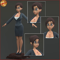 3d cartoon business woman model
