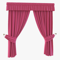 3d model curtain 4 pink