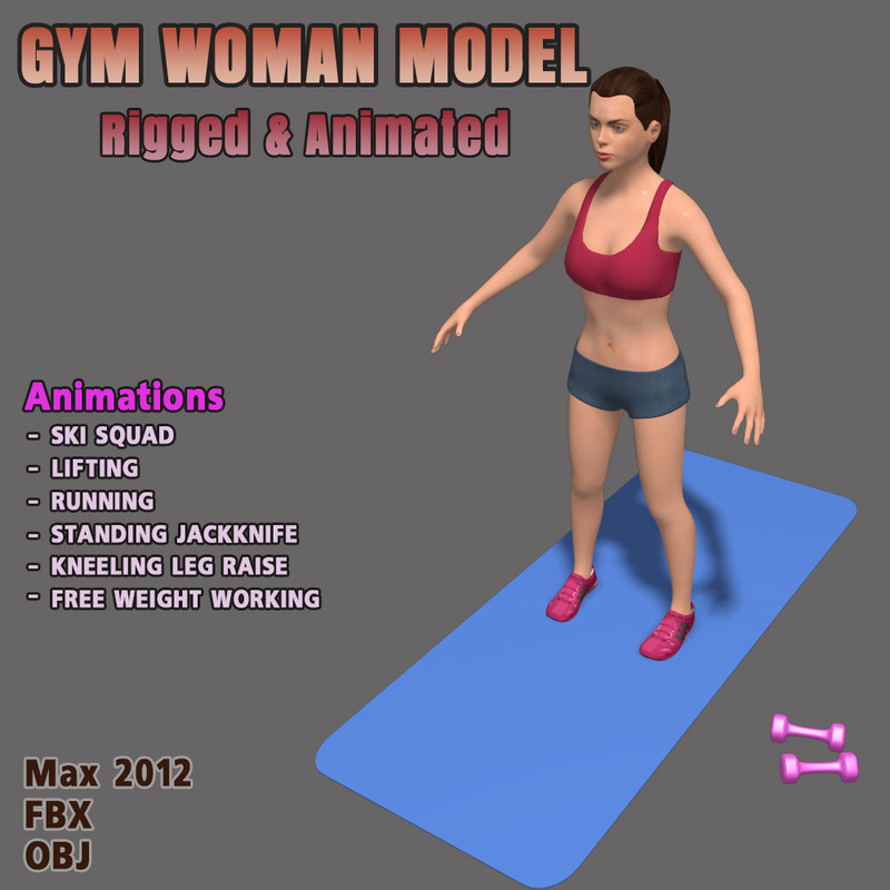 3d gym female fitness character