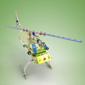 3d meccano helicopter complete set model