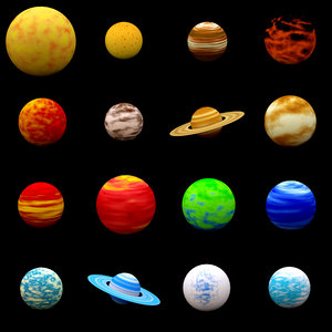 3ds max cartoon planets pack
