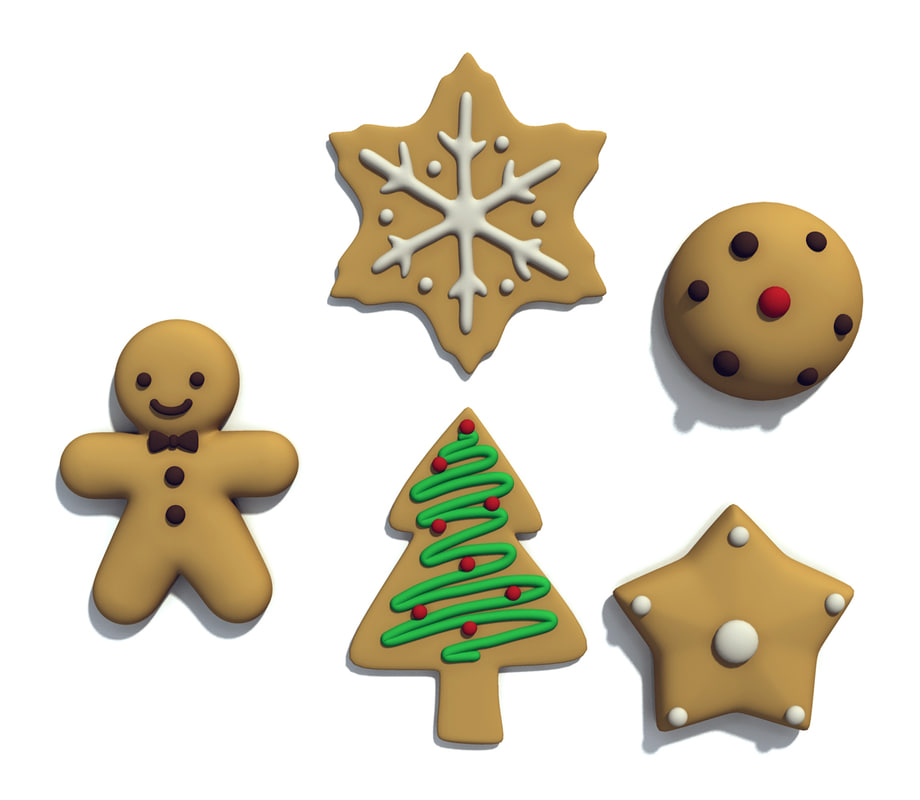 christmas cookie set 3d model