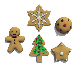 christmas cookie set 3d model