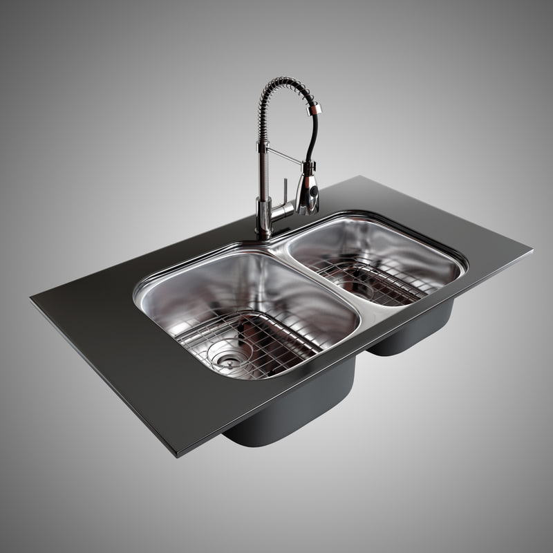 3d model double bowl sink faucet