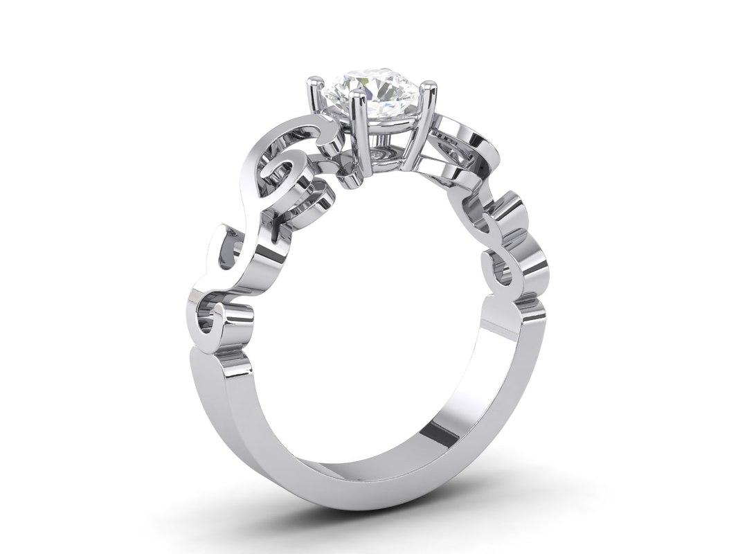 diamond engagement ring 3d 3dm