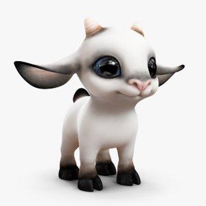 3d cute cartoon goat