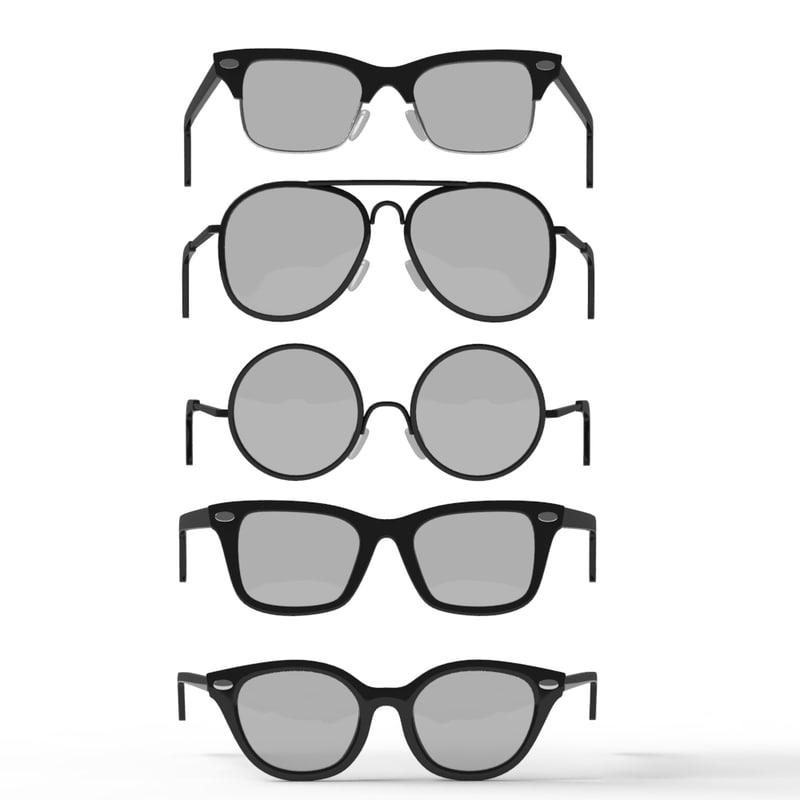 retro glasses set obj