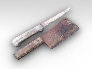 cleaver knife 3d c4d