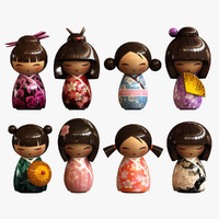 3d minidolls geishas model