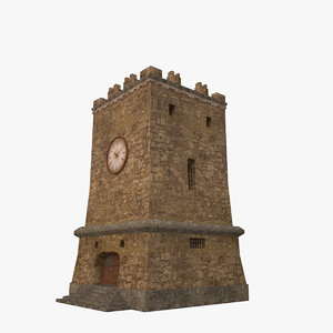 3d old city tower building