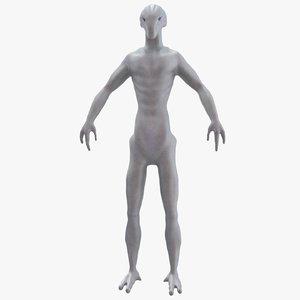 alien humanoid 3d obj