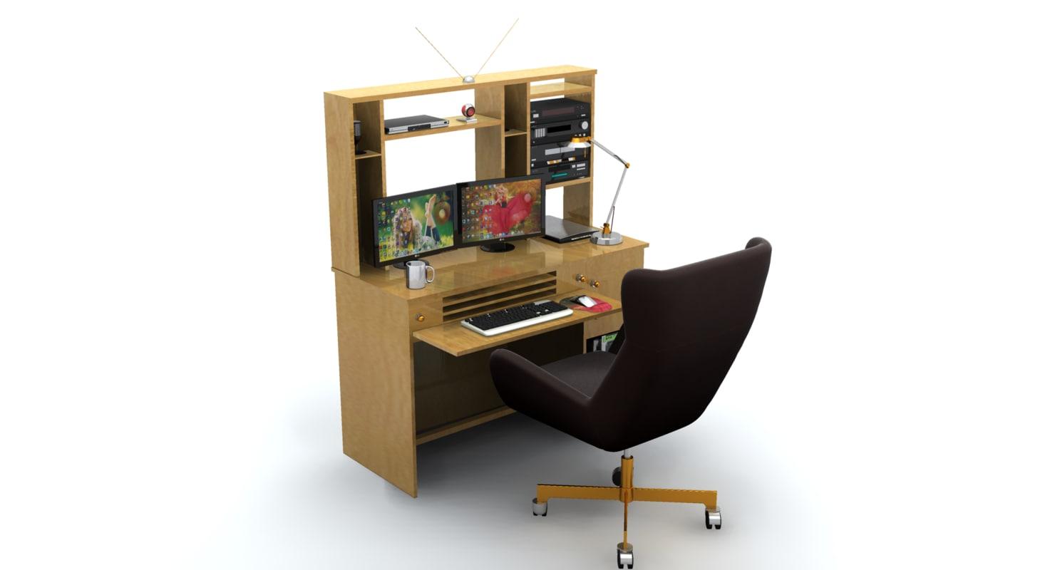 desk set working computer 3d max