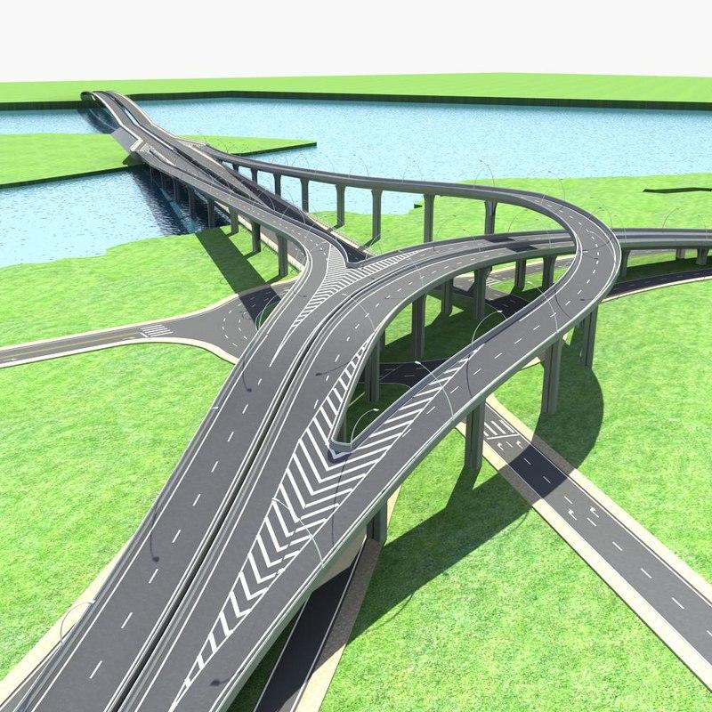 highway road way 3d max