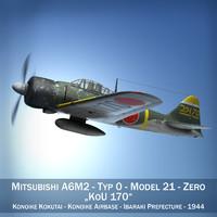 mitsubishi a6m2 zero - 3d model