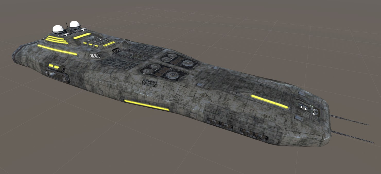 3d model space ship carrier