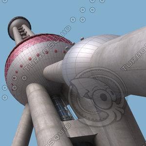 shanghai oriental pearl tv tower 3d max